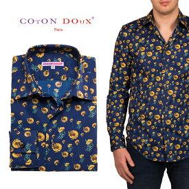 花柄 長袖 メンズ 柄シャツ 紺 イエロー カジュアルシャツ メンズシャツ 30代 40代 50代 大人 フランス イタリア セレブファッション CotonDoux コトンドゥ m01ad1822yflower