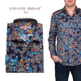 柄シャツ メンズ 長袖シャツ メンズシャツ 花柄 オフィスカジュアル デザインシャツ 30代 40代 50代 大人カジュアル CotonDoux コトンドゥ m01ad1825leaf