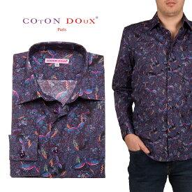 メンズ 長袖 柄シャツ お洒落 フライングバード パープル オフィスデザインシャツ 30代 40代 50代 大人 セレブファッション ブランド CotonDoux コトンドゥ m01ad1834pbird