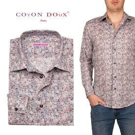 総柄 メンズシャツ 長袖 柄シャツ 英語 アルファベット 英字 カジュアルシャツ 30代 40代 50代 大人 セレブファッション ブランド CotonDoux コトンドゥ m01ad1836letter