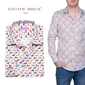 犬柄 ドッグ柄のシャツ dog ドッグデザインの服 ストレッチ 30代 40代 50代 大人 セレブファッション フランス イタリア ブランド CotonDoux コトンドゥ m01ad1846dog