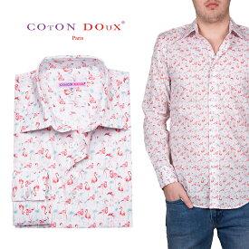 柄シャツ メンズ 長袖シャツ フラミンゴ アニマル ハワイアン アロハ カジュアルシャツ 30代 40代 50代 大人カジュアル CotonDoux コトンドゥ m01ad1849flamin