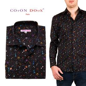 メンズ 長袖 柄シャツ カジュアルシャツ ブラック ミュージック 音符 30代 40代 50代 大人 セレブファッション ブランド CotonDoux コトンドゥ m01ad1861bmusic