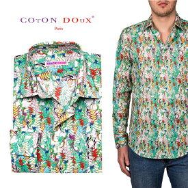 柄シャツ メンズ 長袖 鳥 バード アニマル カジュアルシャツ ハワイアン 30代 40代 50代 大人 フランス イタリア ブランド CotonDoux コトンドゥ m01ad1880gbird