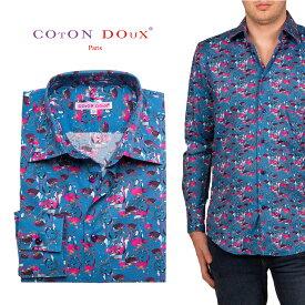 総柄シャツ メンズ 長袖 お洒落 鳥柄 オフィスカジュアルシャツ 30代 40代 50代 大人 セレブファッション フランス イタリア ブランド CotonDoux コトンドゥ m01ad1882ostrich