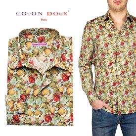 柄シャツ メンズ 長袖 おしゃれ りんご アップル フルーツ オフィスカジュアル デザインシャツ 30代 40代 50代 大人カジュアル CotonDoux コトンドゥ m01ad1895apple