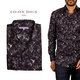 CotonDoux(コトンドゥ)メンズ 長袖 シャツ 柄シャツ 鳥 プリント ポップアート m92ad1701hummingbird
