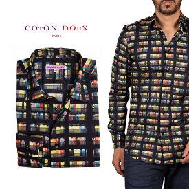 柄シャツ メンズ 長袖 カジュアルシャツ ドレスシャツ パーティー プリント ポップアート セレブファッション ブランド CotonDoux コトンドゥ m92ad1717doors