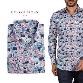 柄シャツ メンズ 長袖 カジュアルシャツにもドレスシャツにも 大人カジュアル パーティー プリント 建物 ポップアート CotonDoux コトンドゥ m92ad1726building