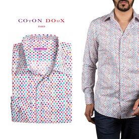 柄シャツ メンズ 長袖 カジュアルシャツにもドレスシャツにも 大人カジュアル パーティー プリント ドット ポップアート CotonDoux コトンドゥ m92ad1756circledots