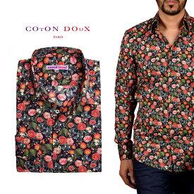 柄シャツ メンズ 長袖 カジュアルシャツにもドレスシャツにも 大人カジュアル パーティー プリント 花柄 ポップアート CotonDoux コトンドゥ m92ad1768flowersand