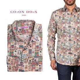 柄シャツ メンズ 長袖 カジュアルシャツにもドレスシャツにも 大人カジュアル パーティー プリント ポップアート CotonDoux コトンドゥ m92ad1773labels