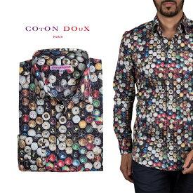 カジュアルシャツ 柄シャツ メンズ 長袖 カジュアルシャツにもドレスシャツにも プリント ビン ボトル ポップアート CotonDoux コトンドゥ m92ad1778bottles