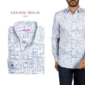 カジュアルシャツ 柄シャツ メンズ 長袖 カジュアルシャツにもドレスシャツにも プリント 間取り 図面 ポップアート CotonDoux コトンドゥ m92ad1787blueprints