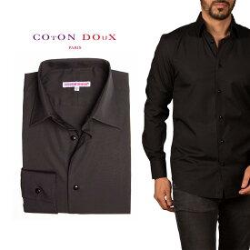 オフィスカジュアル シャツ メンズ 長袖 ドレスシャツ イタリア フランス   プリント ポップアート CotonDoux コトンドゥ m92ad1803black1