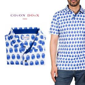 Coton Doux (コトンドゥ) ポロシャツ 半袖 メンズ 柄シャツ 指紋 お洒落 可愛い レトロ フランス イタリア【mp82d18】