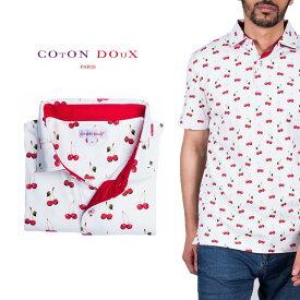 Coton Doux (コトンドゥ) ポロシャツ 半袖 メンズ 柄シャツ さくらんぼ チェリー お洒落 可愛い レトロ フランス イタリア【mp82d28】
