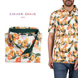 Coton Doux (コトンドゥ) ポロシャツ 半袖 メンズ 柄シャツ ミカン オレンジ お洒落 可愛い レトロ フランス イタリア【mp82d30】