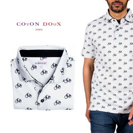 Coton Doux (コトンドゥ) ポロシャツ 半袖 メンズ 柄シャツ 自転車 お洒落 可愛い レトロ フランス イタリア【mp82d42】
