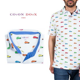 Coton Doux (コトンドゥ) ポロシャツ 半袖 メンズ 柄シャツ 車 カラフル お洒落 可愛い レトロ フランス イタリア【mp82d49】