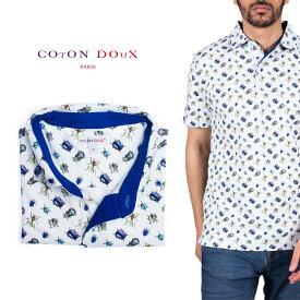 Coton Doux (コトンドゥ) ポロシャツ 半袖 メンズ 柄シャツ 甲虫 昆虫 お洒落 可愛い レトロ フランス イタリア【mp82d53】