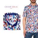 Coton Doux (コトンドゥ) ポロシャツ 半袖 メンズ 柄シャツ ヘリンボーン カラフル お洒落 可愛い レトロ フランス …