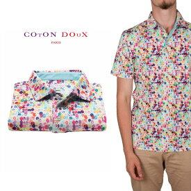 CotonDoux(コトンドゥ)ポロシャツ 半袖 マルチカラー ドット プリント 柄シャツ ジャージー素材 mp92d104watercolors