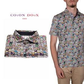 CotonDoux(コトンドゥ)ポロシャツ 半袖 猫 カラフル プリント 柄シャツ コットン ジャージー素材 mp92d106cats