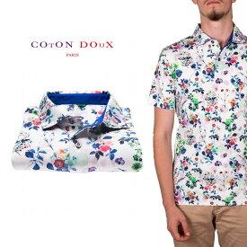 CotonDoux(コトンドゥ)ポロシャツ 半袖 プリント 花柄 フラワー 柄シャツ コットン ジャージー素材 mp92d109littleflowers