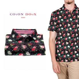 CotonDoux(コトンドゥ)ポロシャツ 半袖 薔薇 ローズ プリント 柄シャツ コットン ジャージー素材 mp92d110roselover