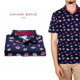 CotonDoux(コトンドゥ)ポロシャツ 半袖 キスマーク プリント 柄シャツ コットン ジャージー素材 mp92d122lips