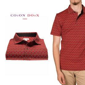 CotonDoux(コトンドゥ)ポロシャツ 半袖 幾何学模様 プリント 柄シャツ コットン ジャージー素材 mp92d124hexageon