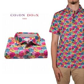 CotonDoux(コトンドゥ)ポロシャツ 半袖 傘 カラフル プリント 柄シャツ ジャージー素材 mp92d140umbrella