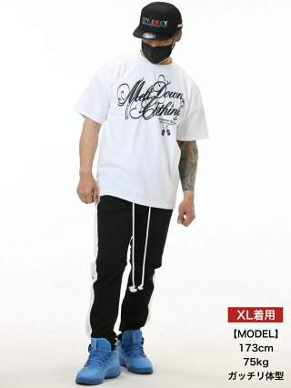 MELTDOWN(メルトダウン)TシャツSCRIPTS/STEE(MD18SS-SS01)メンズファッションヒップホップダンスB系ストリート系スクリプトロゴラインストーンジルコニア大きいサイズ3XL4L