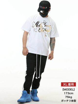 MELTDOWN(メルトダウン)TシャツFOILSCRIPTS/STEE(MD18SS-SS02)メンズファッションヒップホップダンスB系ストリート系スクリプトロゴ箔ゴールドシルバーラインストーンジルコニア大きいサイズ3XL4L