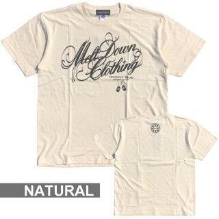 MELTDOWN(メルトダウン)TシャツNATURESCRIPTS/STEE(MD18SS-SS04)メンズファッションヒップホップダンスB系ストリート系スクリプトロゴアースカラーラインストーンジルコニア大きいサイズ3XL