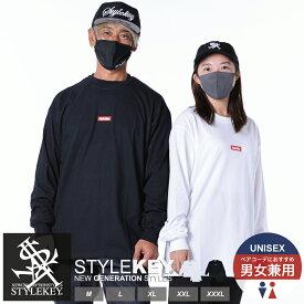 STYLEKEY(スタイルキー) 長袖Tシャツ SMART BOX L/S TEE(SK18HO-LS01) ヒップホップ B系 ストリート系 ロンT ロングスリーブ ロゴ ボックスロゴ 刺繍 ワンポイント シンプル 大きいサイズ ビッグサイズ 3L 4L XXL XXXL