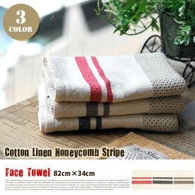 Cotton Linen Honeycomb Stripe Face Towel(コットンリネンハニカムストライプフェイスタオル)Basshu(バッシュ)全3タイプ(RE/BK/KH)
