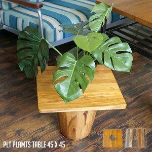 プランターテーブル サイドテーブル PLT Plants Table プランツテーブル スクエア45x45cm カラー(チーク・マンゴー) 天然木 観葉植物テーブル 西海岸