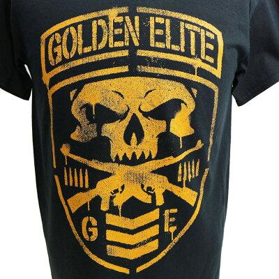 新日本プロレスNJPWGoldenElite(ゴールデンエリート)ShieldブラックTシャツ