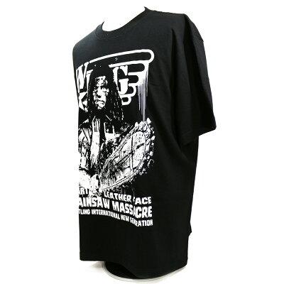 W☆ingレザーフェイスブラックTシャツ