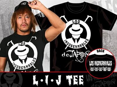 新日本プロレス/NJPWロス・インゴベルナブレス・デ・ハポンL・I・JTシャツ(ブラック×ホワイト)