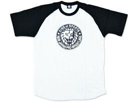 【メール便対応】新日本プロレス NJPW ライオンマーク ラグランTシャツ(ホワイト×ブラック)