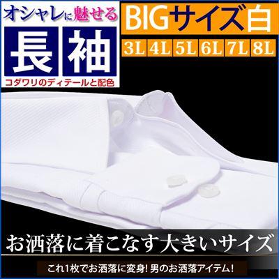 ワイシャツ 白 大きいサイズ レギュラー 長袖 3l 4l 5l 6l 7l 8l 3L 45-88 4L 47-90 5L 49-90 6L 51-91 7L 54-92 8L 57-93 ホワイト 白 / BG-42