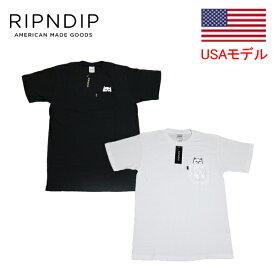 リップンディップ TシャツRIPNDIP LOAD NERMAL SS TEE リップインデップ リップアンドリップ リップTシャツ ■品番 RND0204 RND0205 ■ ネコ柄ポケットTシャツ 白黒