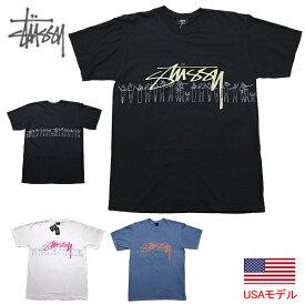 ステューシー Tシャツ ストックロゴ STUSSY PEOPLE STRIPE PIG. DYED S/S TEE Tシャツ 半袖Tシャツ ピグメント加工 ユーズド加工 定番 後染め加工 古着風加工 ■品番 1904555