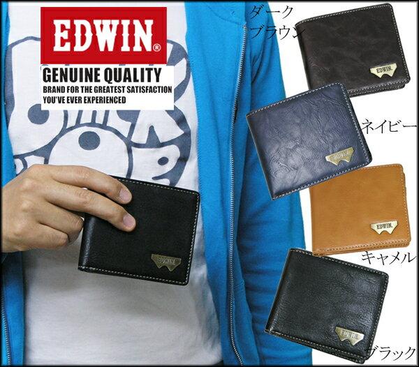 <送料無料>EDWIN エドウィン 財布 グレイン合皮Wメタル折財布 12289938
