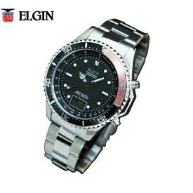 【送料無料】エルジン/ELGIN アナデジ 天然ダイヤモンド1石配置 電波ソーラー腕時計 FK1400S-BRP