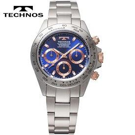 【送料無料】TECHNOS/テクノス クロノグラフ 10気圧防水 クオーツ メンズ 腕時計 TSM411PN