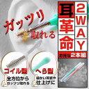 【送料無料】2WAY耳かき『耳革命』2本組 イアーピック 耳掻き スパイラルヘッド スプーン 金属 プラスチック スプリング